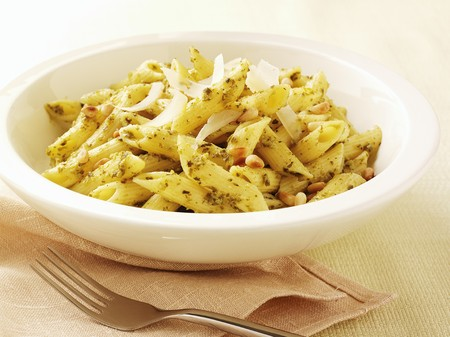 pine kernels: Penne with pesto, pine nuts and parmesan
