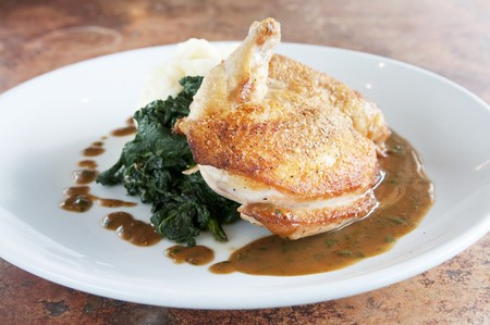 roasted chicken: Roasted Chicken with Wilted Spinach and Gravy LANG_EVOIMAGES