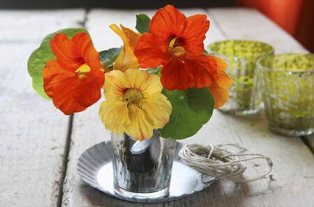 acqua bicchiere: Fiori di nasturzio in un bicchiere d'acqua come una decorazione da tavola LANG_EVOIMAGES