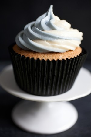 buttercream: Earl Grey tea infused cupcakes topped with two tone Earl Grey scented buttercream