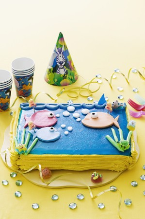 childs birthday party: A sea-themed birthday cake for a child