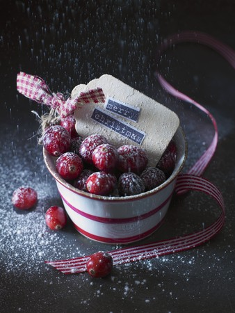 christmassy: Cranberries with icing sugar in a pot (Christmassy) LANG_EVOIMAGES