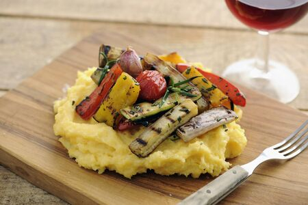 cocozelle: Grilled Vegetables With Polenta, selective focus LANG_EVOIMAGES