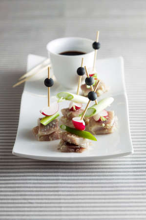 amuse: Herring canapes with a dip