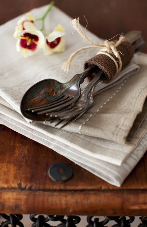 bunched: Old Silverware Bundled on a Napkin