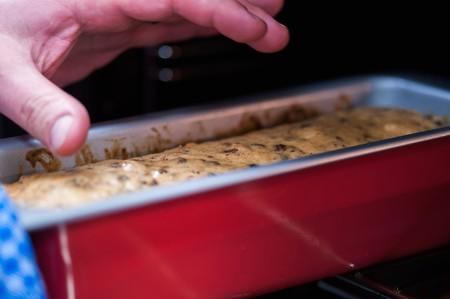 fruitcake: Fruitcake in a baking tin