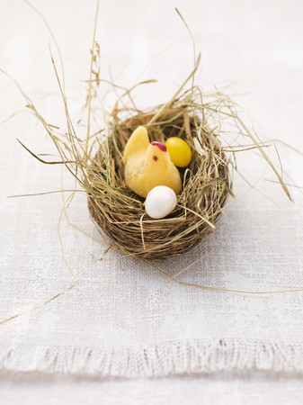jellybean: An Easter nest with a fondant chick and sugar eggs LANG_EVOIMAGES