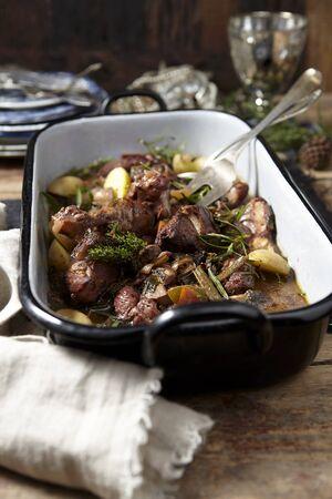 vin: Coq au vin in a roasting tin