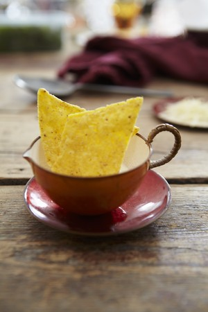 side order: Tortilla chips in a soup cup