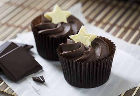 being the case: Dark chocolate cupcakes decorated with white chocolate stars LANG_EVOIMAGES
