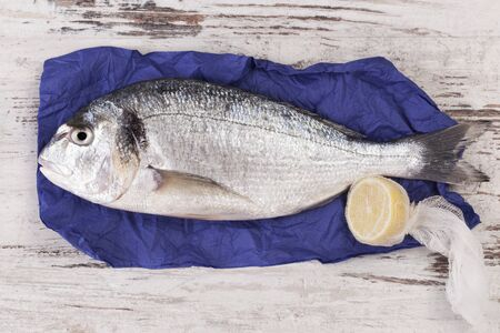 gilthead bream: A raw gilt-head bream on purple paper