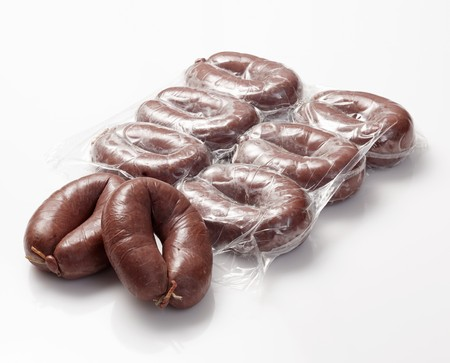 scalded sausage: Grützwurst (German blood sausage), partly in the packet