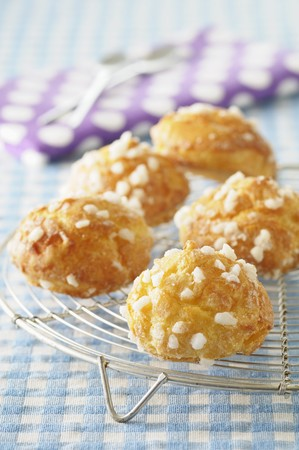 pastes: Chouquettes with sugar crystals on a cooling rack LANG_EVOIMAGES