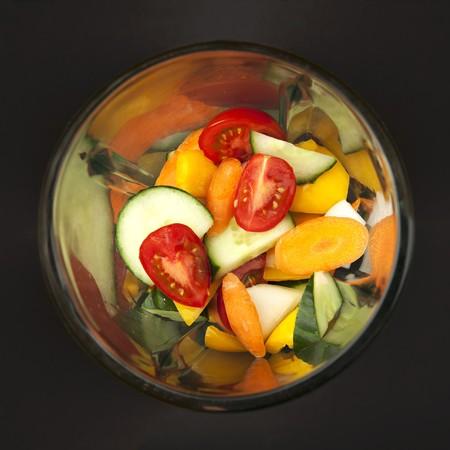 liquidiser: Mixed vegetables (for gazpacho) in a blender