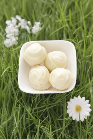 sweet grasses: White chocolate truffles in artificial grass