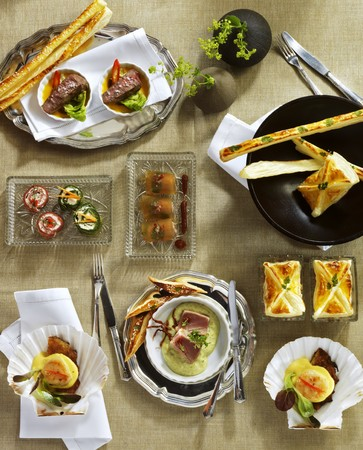 amuse: Assorted amuse-bouches (view from above)