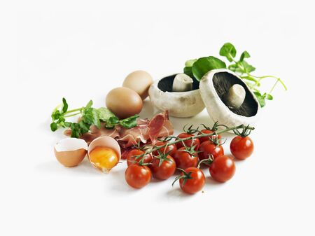 water cress: A still life featuring tomatoes, ham, eggs, mushrooms and cress