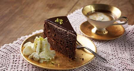 torte: Celebratory chocolate torte with pistachio cream