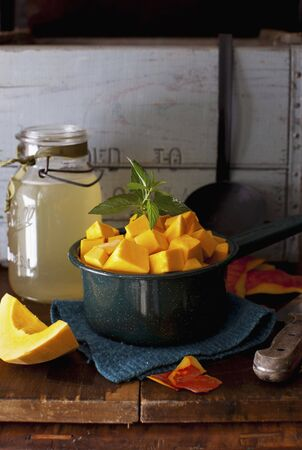 cubed: Cubed Red Hubbard Squash in a Bowl