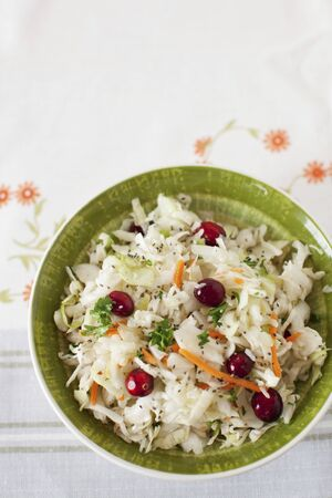 vaccinium macrocarpon: Cole Slaw with Cranberries in a Green Bowl