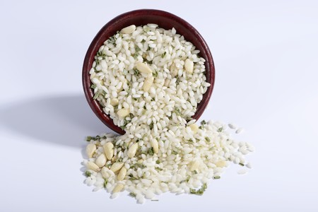 pine kernels: Vialone Nano risotto rice with pine nuts and chives in a ceramic bowl LANG_EVOIMAGES