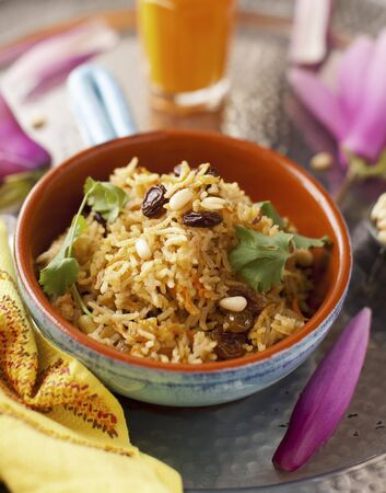 pine nuts: Saffron Rice with Raisins and Pine Nuts