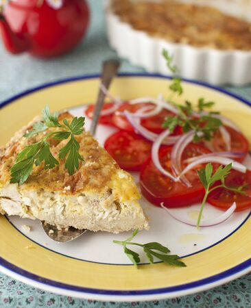 salmo trutta: Smoked Rainbow Trout and Mushroom Quiche with Tomato Salad LANG_EVOIMAGES