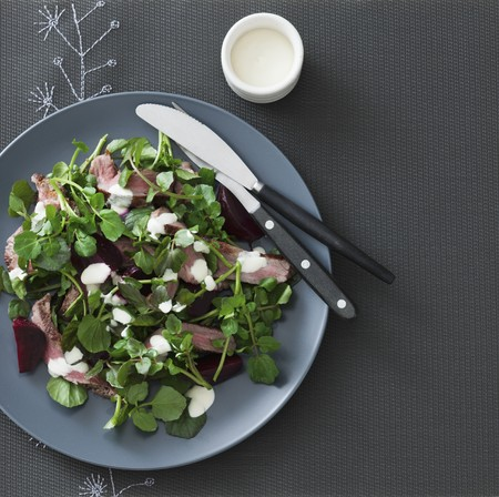 watercress: A salad of grilled lamb, watercress, beetroot and aioli