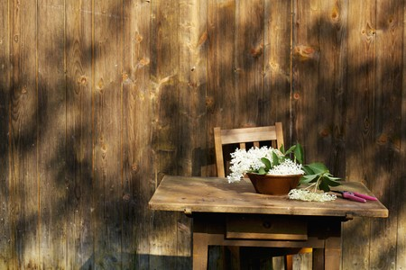 farmyards: Elderflowers in a bowl on a table outside a wooden cabin LANG_EVOIMAGES