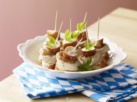 amuse: A Bavarian snack: pretzel and white sausage skewers