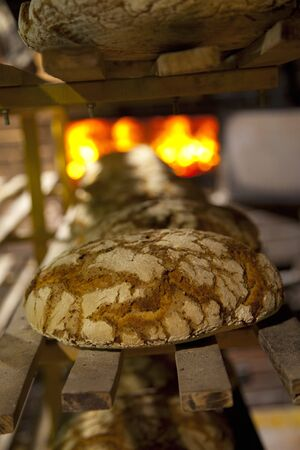 woodfired: Freshly baked loaves on a shelf in front of the wood-fired oven at the bakery