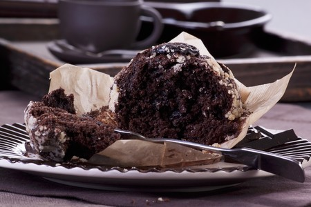 partly: A chocolate muffin, partly eaten LANG_EVOIMAGES
