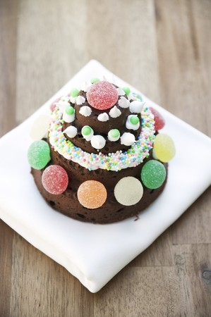 solo  christmas: Chocolate cake with pumpkin and ginger; decorated with gum drops