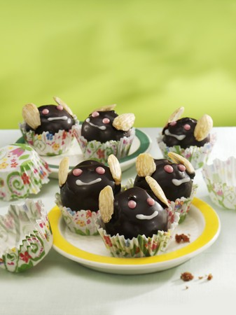 childs birthday party: May bug muffins with chocolate icing and almonds