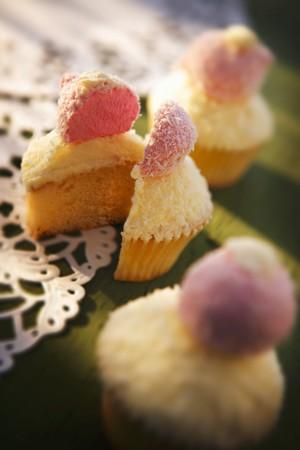 doiley: A coconut cupcake