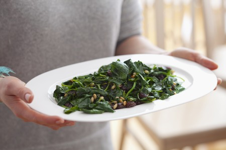 pine nuts: Blanched spinach with raisins and pine nuts