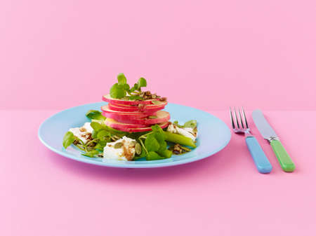 water cress: Pink lady apple, feta, walnut and watercress salad, with balsamic dressing LANG_EVOIMAGES