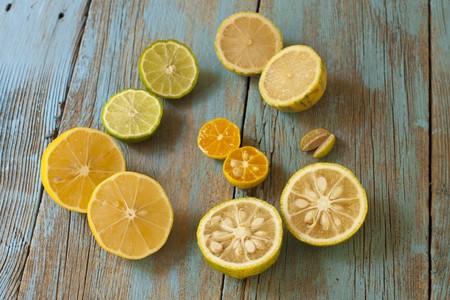 kafir lime: Assorted Citrus; Meyer Lemon, Yuzu, Finger Limes, Calamondin, Kaffir Lime, Variegated Pink Lemon