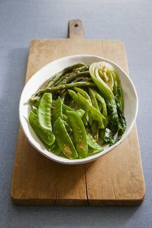 buttered: Buttered green vegetables