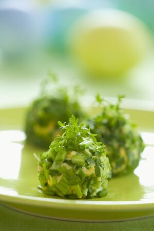 creamed: Balls of creamed egg coated in chives