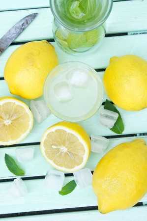 soda pops: Lemonade with ice cubes and mint (view from above)