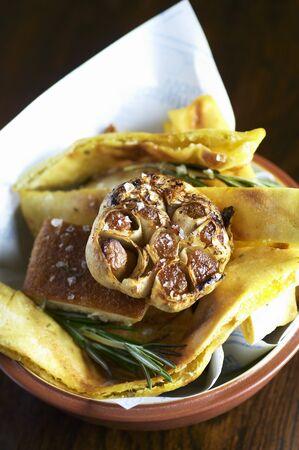 side order: Garlic bread in a bread basket