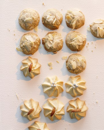piped: Almond biscuits and piped biscuits
