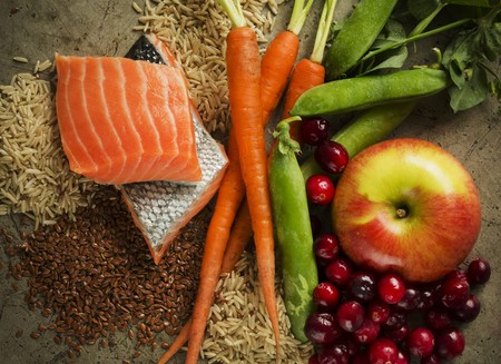 Assorted Ingredients; Salmon with Fruit, Vegetables and Grains LANG_EVOIMAGES