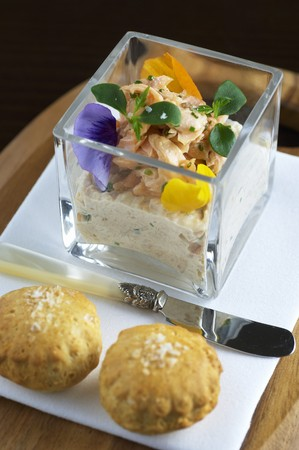 salmo trutta: Poached rainbow trout on trout pur�e with scones