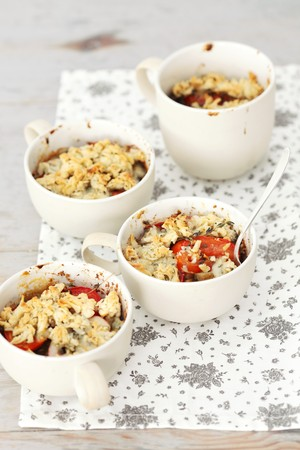 cocozelle: Vegetable bake with courgette, aubergines, tomatoes and Roquefort