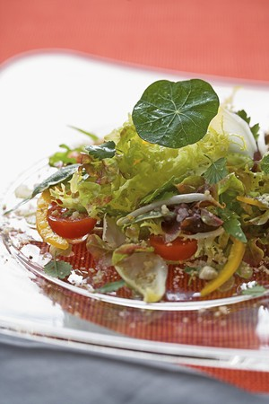 berros: Ensalada de hojas con las avellanas, los brotes comestibles y berros