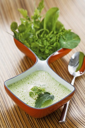 watercress: Herb soup with nettles, watercress, chervil, sorrel and chickweed