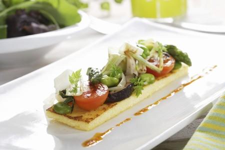 ed: Saut�ed vegetables on polenta with Romesco vinaigrette