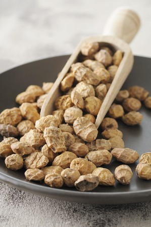 earth nut: Tiger nuts on a plate with a scoop